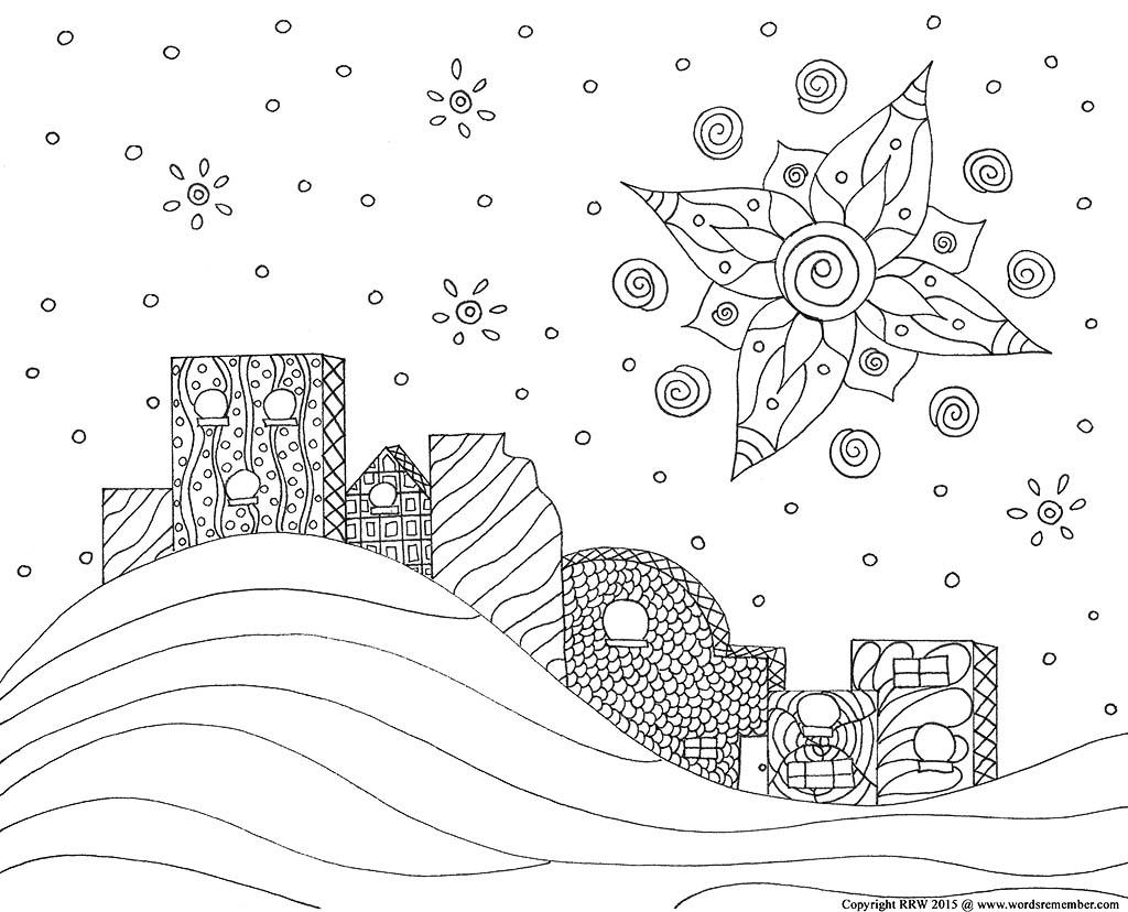 """Christmas Coloring Page, """"Star in the East""""   Wordsremember"""