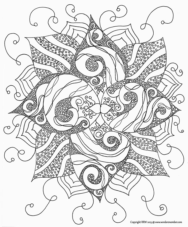 "Coloring Page, ""Lotus"", Abstract Botanical Zendoodle Design"