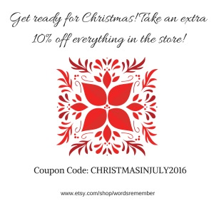 Coupon Code: CHRISTMASINJULY2016